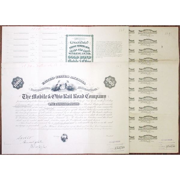 Mobile & Ohio Rail Road Co., 1874 (Plate cancelled in 1943) Plate Cancellation Bond Elements Trio