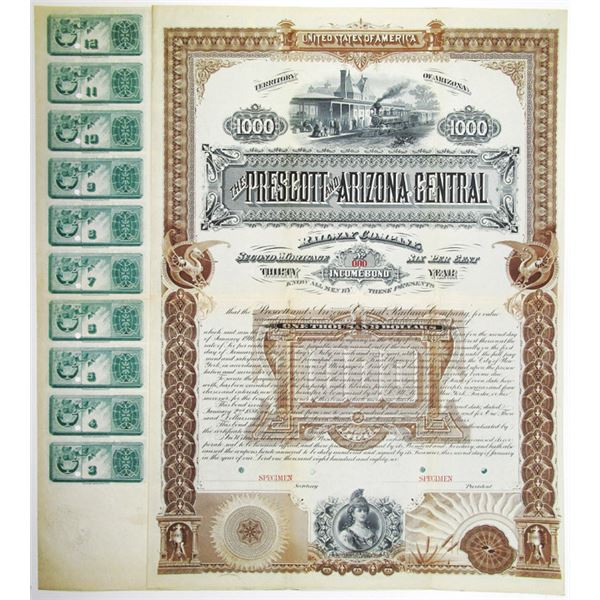 Prescott and Arizona Central Railway Co. 1886 Specimen Bond Rarity
