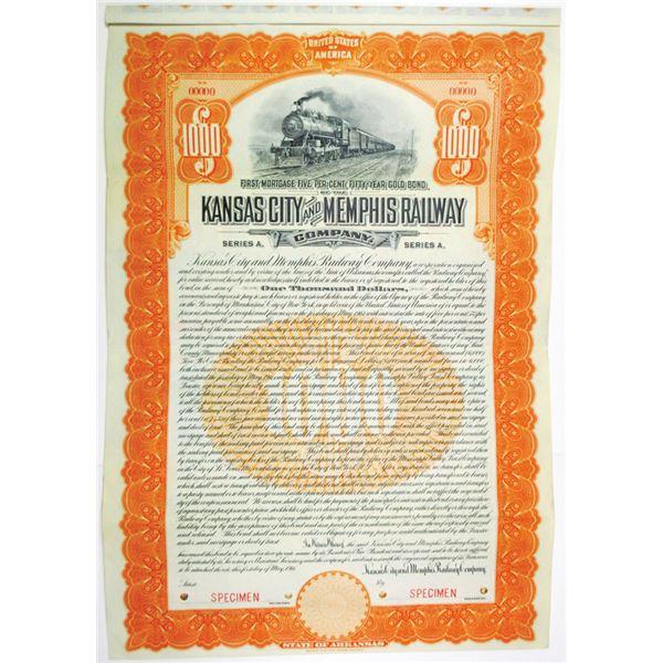 Kansas City and Memphis Railway Co. 1911 Specimen Bond