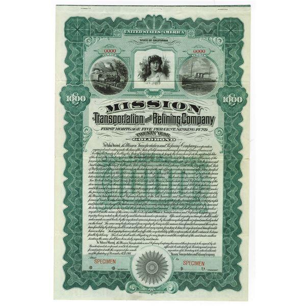 Mission Transportation and Refining Co., 1901 Specimen bond.