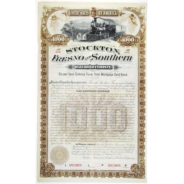 Stockton, Fresno and Southern Railroad Co. 1888 Specimen Bond Rarity