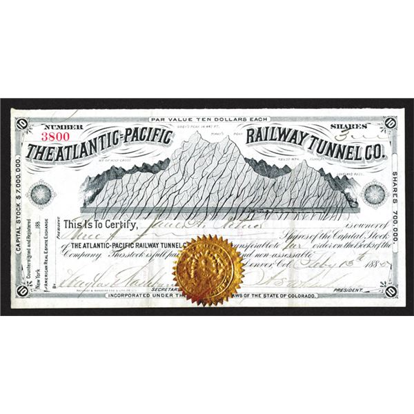 Atlantic-Pacific Railway Tunnel Co., 1885, Stock Certificate.
