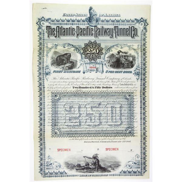 Atlantic-Pacific Railway Tunnel Co., 1887 Specimen Bond
