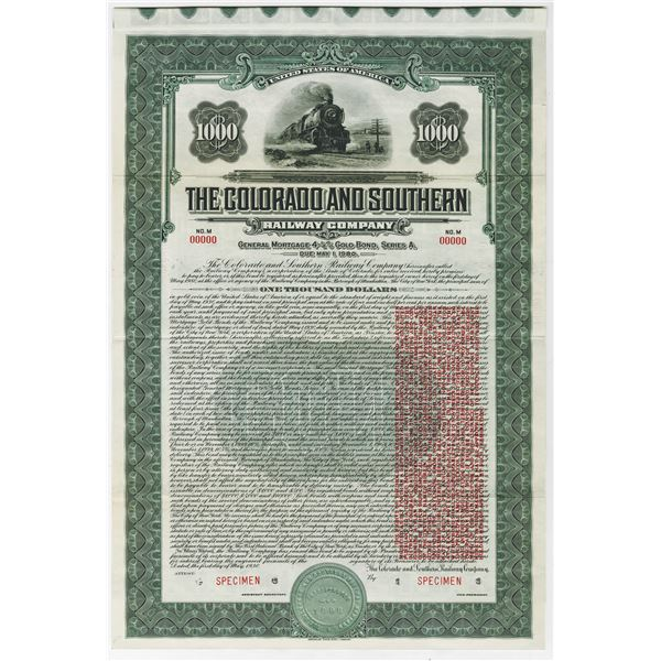 Colorado and Southern Railway Co., 1930 Specimen Bond With Additional Clause.