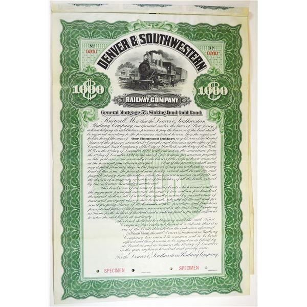 Denver and Southwestern Railway Co., 1899 Specimen Bond.
