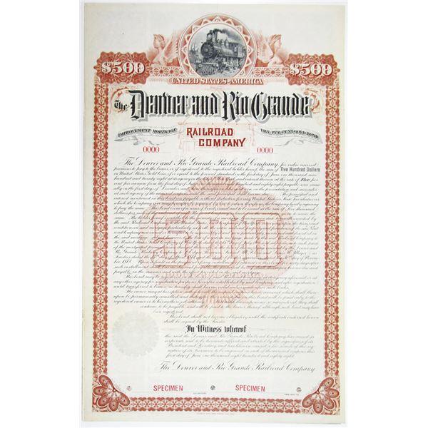 Denver and Rio Grande Railroad Co. 1888 Specimen Bond