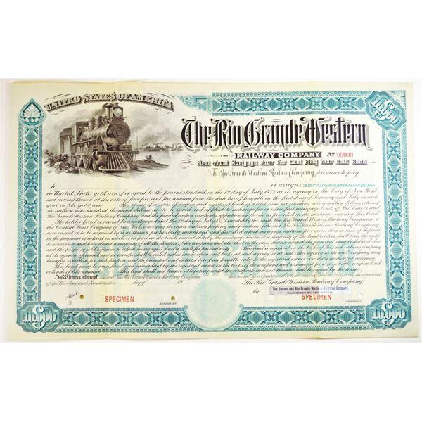 Rio Grande Western Railway Co., 1889, 1st Trust Mortgage  4% 50 Year Gold Registered Bond Specimen