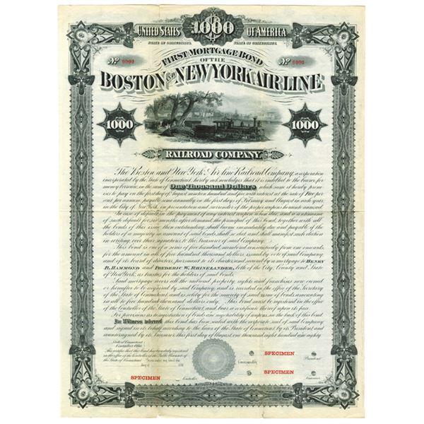 Boston and New York Air Line Railroad Co., 1880 Specimen Bond