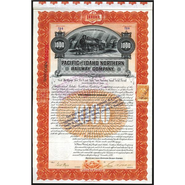 Pacific and Idaho Northern Railway Co., Issued and Partially Redeemed Bond.