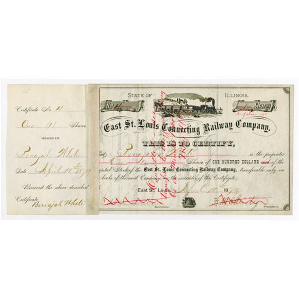 East St Louis Connecting Railway Co. 1879. I/C Stock Certificate
