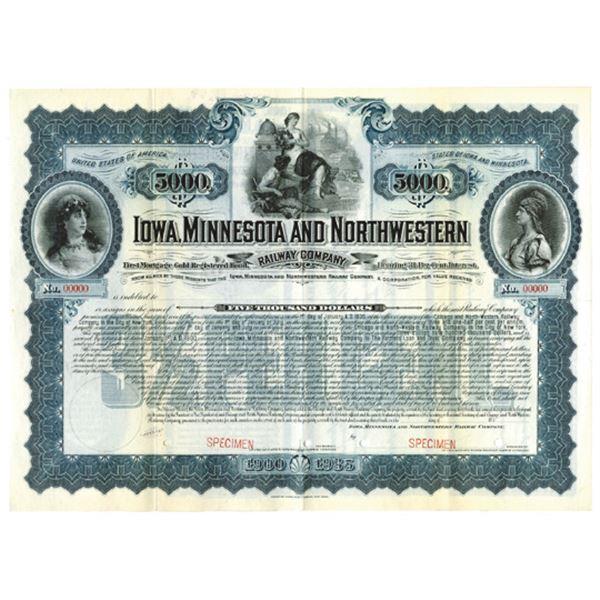 Iowa, Minnesota and Northwestern Railway Co., 1900 Specimen Bond
