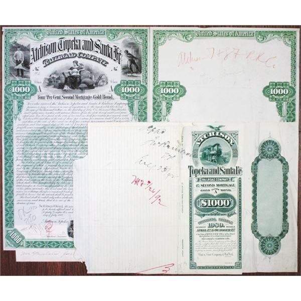 Atchison, Topeka and Santa Fe Railroad Co. 1892 Unique Production Proof Trio