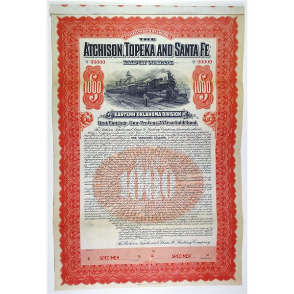 Atchison, Topeka and Santa Fe Railway Co. 1903 Specimen Bond