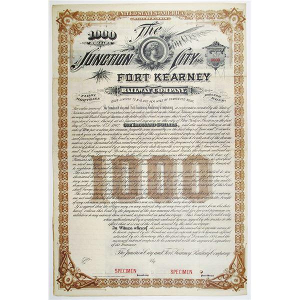 Junction City and Fort Kearney Railway Co. 1884 Specimen Bond Rarity