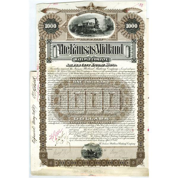 Kansas Midland Railway Co. 1887 Unique Bond Production Proof Group