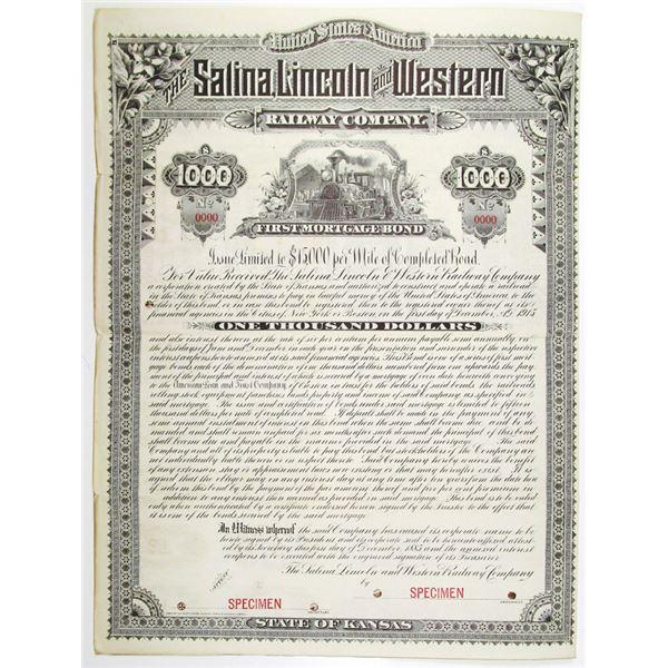 Salina, Lincoln and Western Railway Co. 1885 Specimen Bond Rarity