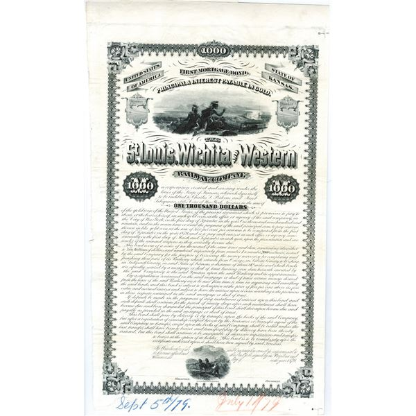 St Louis, Wichita and Western Railway Co. 1879 Unique Bond Production Proof Group
