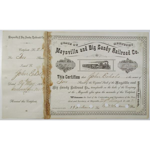 Maysville and Big Sandy Railroad Co. 1882 I/C Stock Certificate ITASB John Echols.