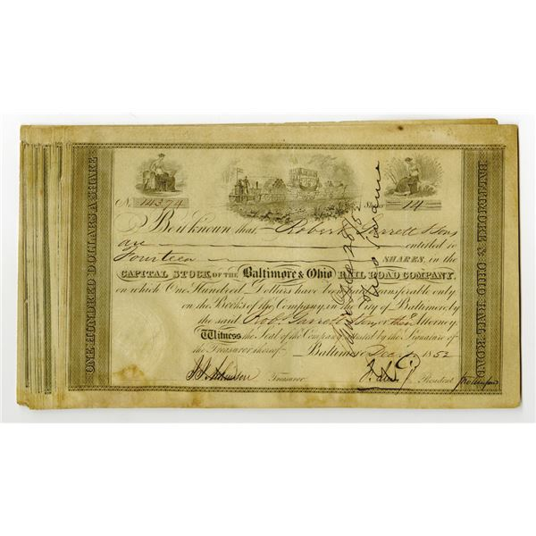 Baltimore & Ohio Rail Road Co. Issued Stock Certificate Group of 20