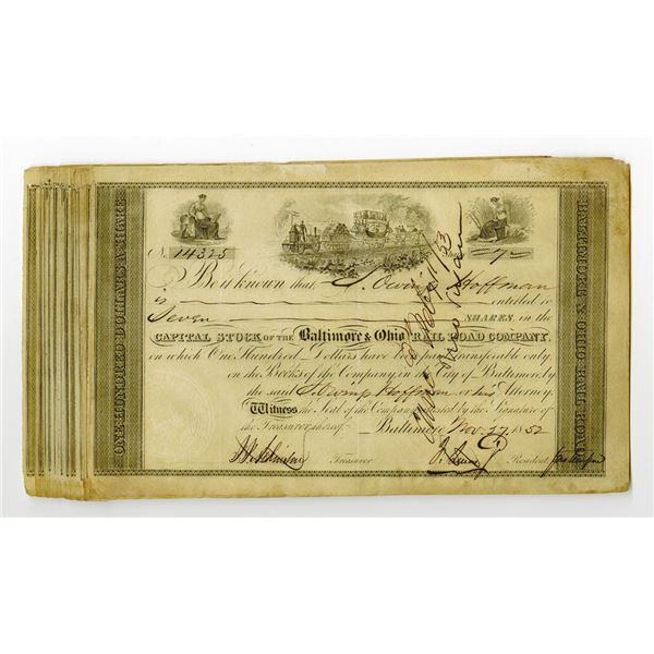 Baltimore & Ohio Rail Road Co. Issued Stock Certificate Group of 21