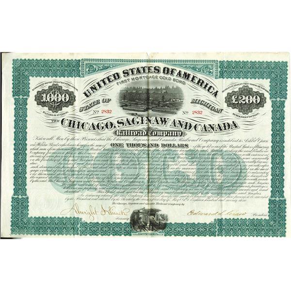 Chicago, Saginaw and Canada Railroad Co., 1873 I/U Bond