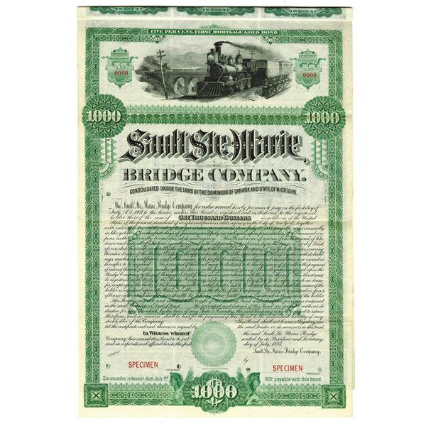 Sault Ste. Marie Bridge Co., 1887 Specimen Bond
