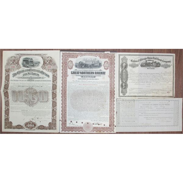 Midwest Group of 5 Railroad Stocks and Bonds, ca.1850 to 1924.