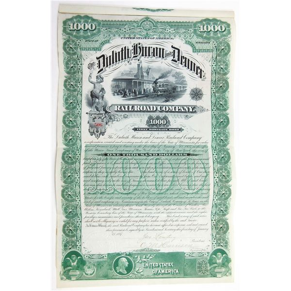 Duluth, Huron and Denver Railroad Co. 1887 I/U  Bond