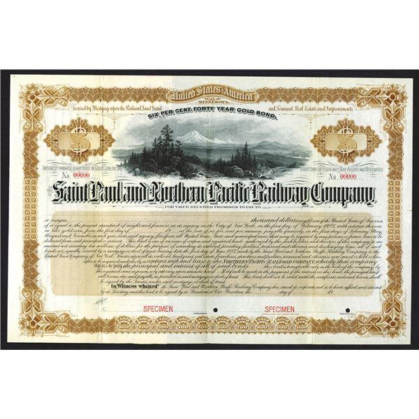 Saint Paul and Northern Pacific Railway Co. 1883 Specimen Bond