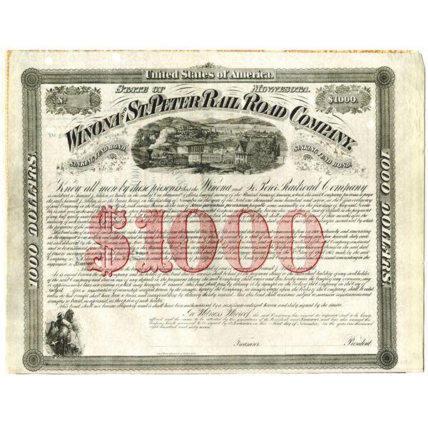 Winona and St. Peter Railroad Co. 1867 Unlisted Railroad $1000 Specimen Bond Rarity.
