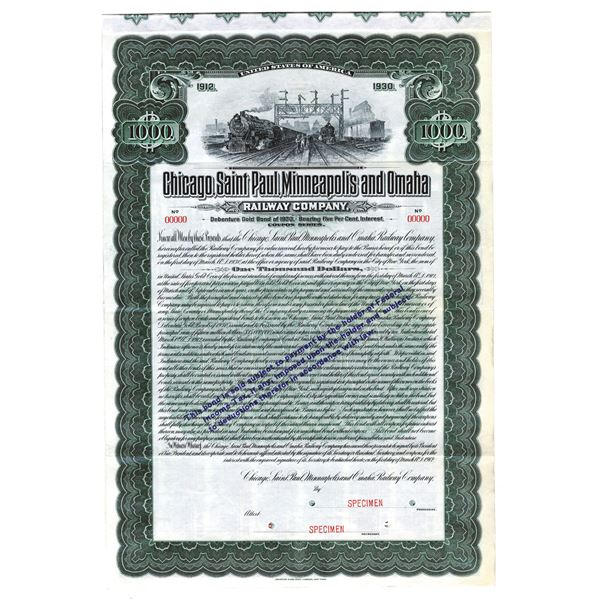 Chicago, Saint Paul, Minneapolis and Omaha Railway Co., 1912 Specimen Bond
