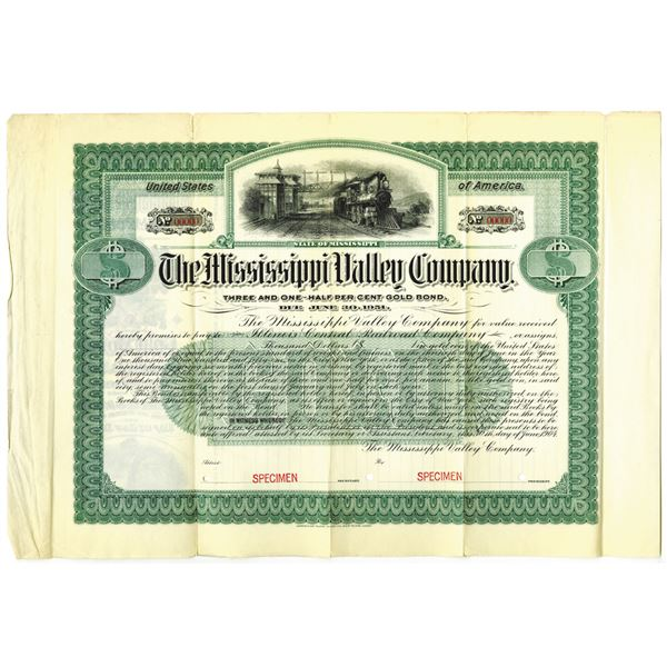 Mississippi Valley Co. 1904 Specimen Bond Rarity