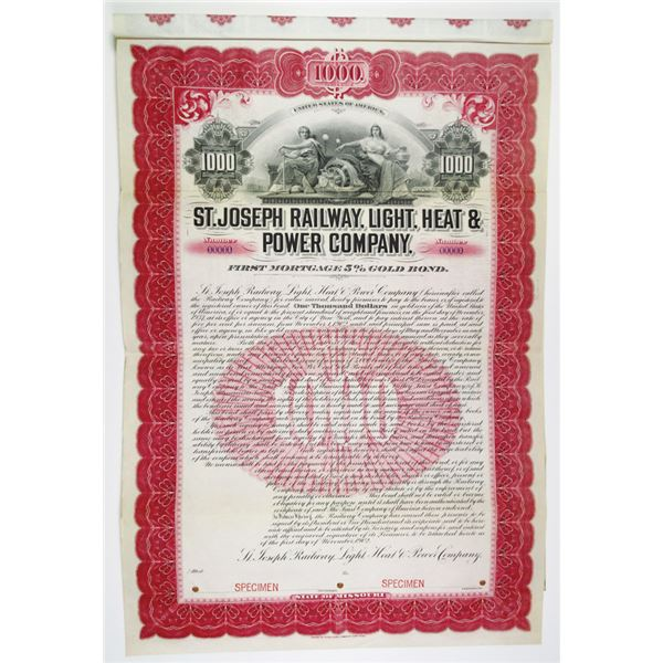 Missouri, 1902 Specimen $1000 First Mortgage 5% Gold Coupon Bond, Black text with pink-red border an