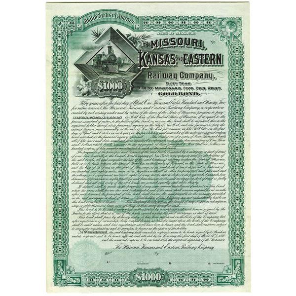 Missouri, Kansas and Eastern Railway Co. 1897 Specimen Bond Rarity