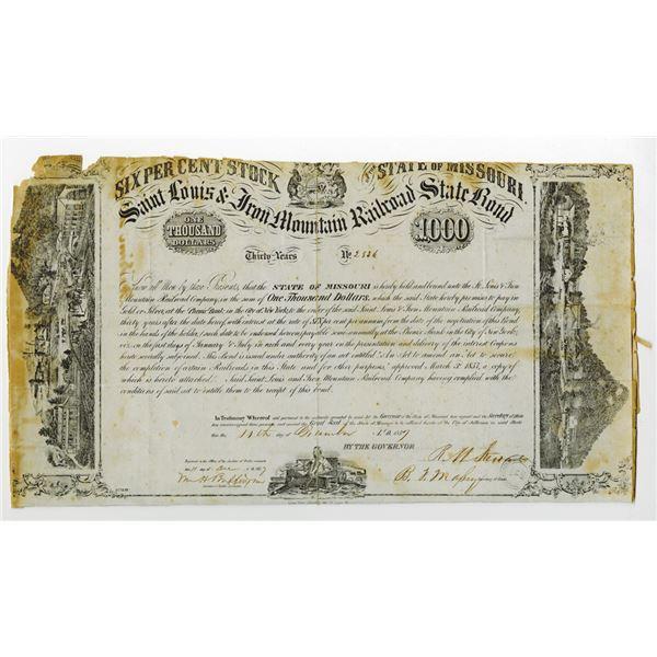 Saint Louis & Iron Mountain Railroad Co. 1857 I/C State Bond
