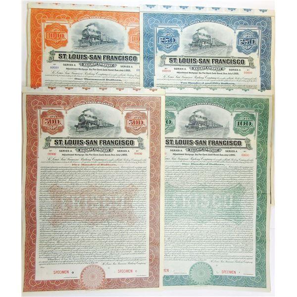 St. Louis and San Francisco Railroad Co., 1916 Quartet of Specimen Bonds