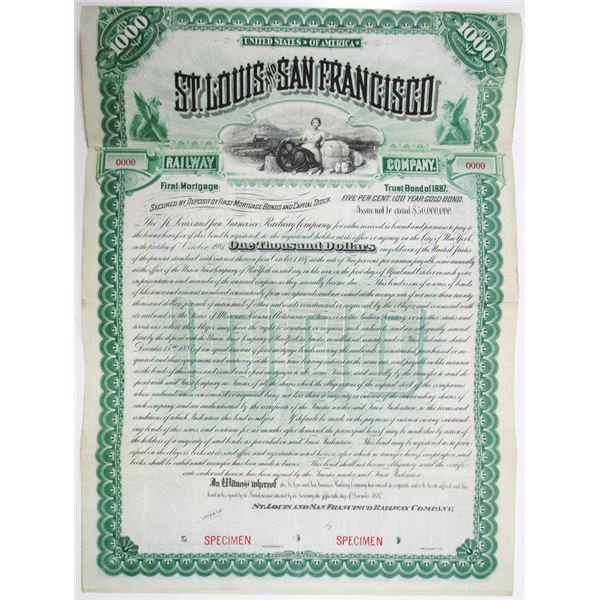 St. Louis and San Francisco Railway Co. 1887 Specimen Bond