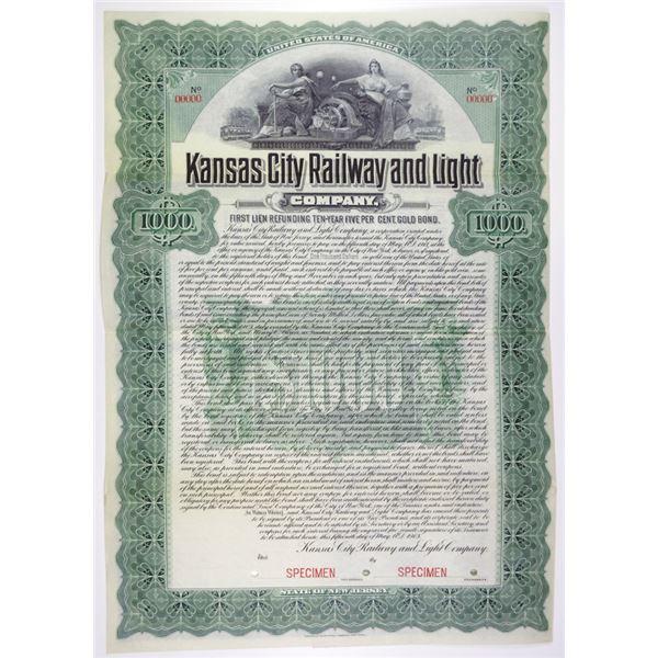 Kansas City Railway and Light Co. 1903 Specimen Bond