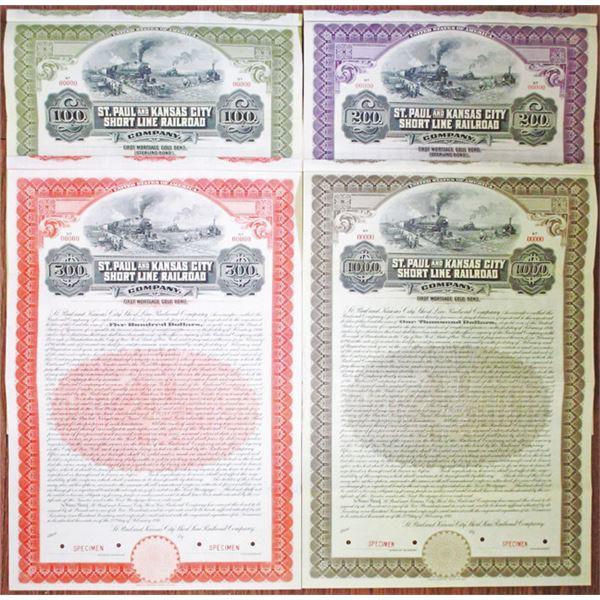 St. Paul and Kansas City Short Line Railroad Co. 1911 Specimen Bond Quartet