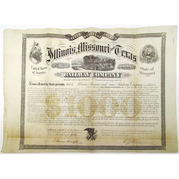 Illinois, Missouri and Texas Railway Co. 1871 I/U Bond