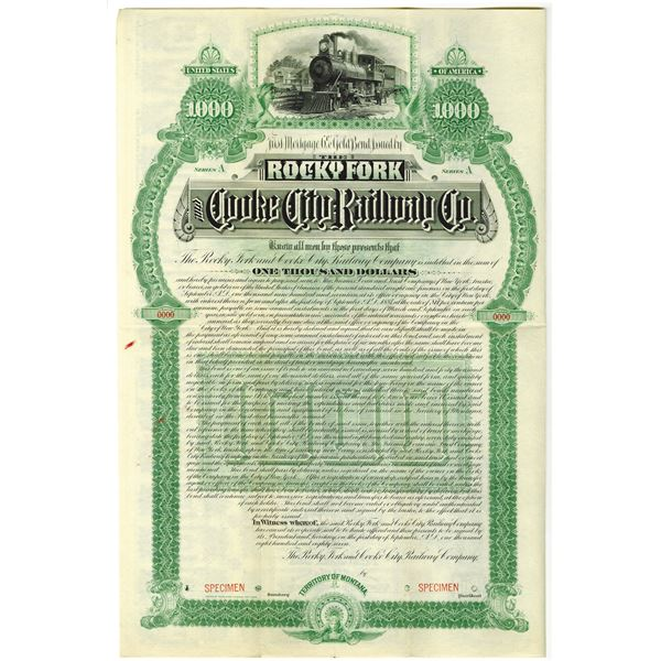Rocky Fork and Cooke City Railway Co., 1887 Specimen Bond Rarity