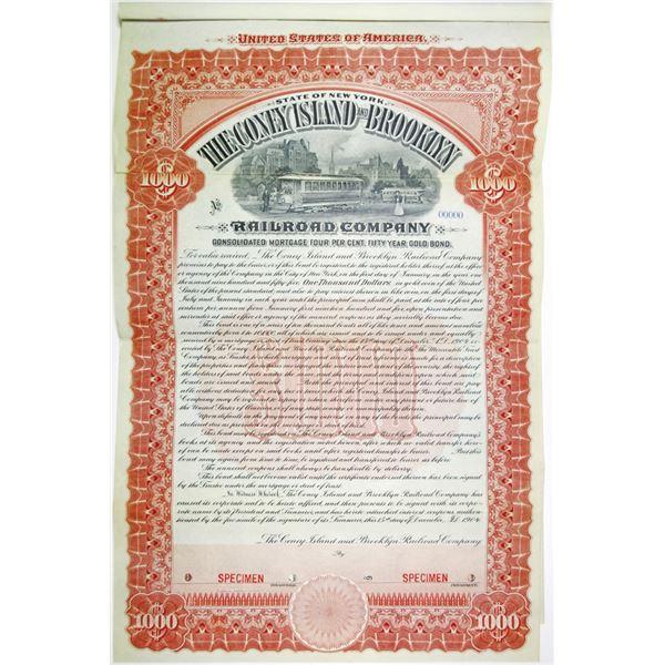 Coney Island and Brooklyn Railroad Co., 1904 Specimen Bond