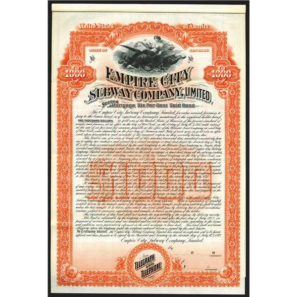 Empire City Subway Co., Ltd., 1892 Specimen Bond Rarity
