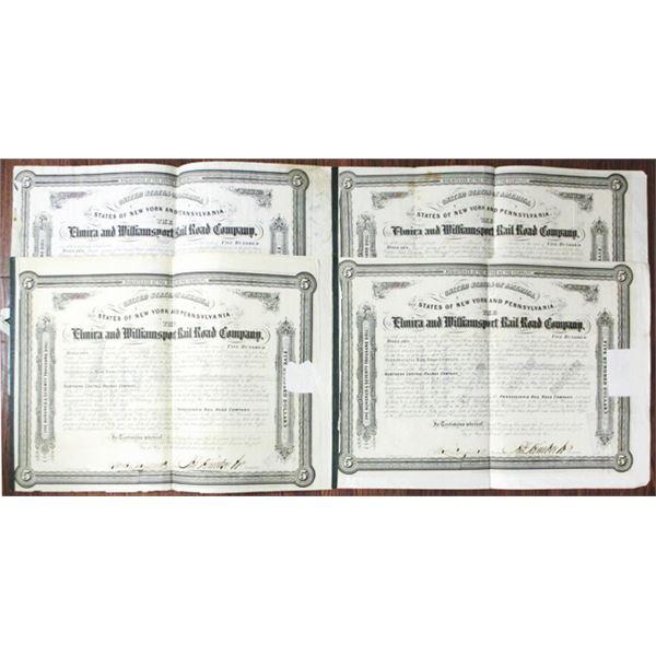 Elmira and Williamsport Rail Road Co. 1863 I/C Bond Quartet