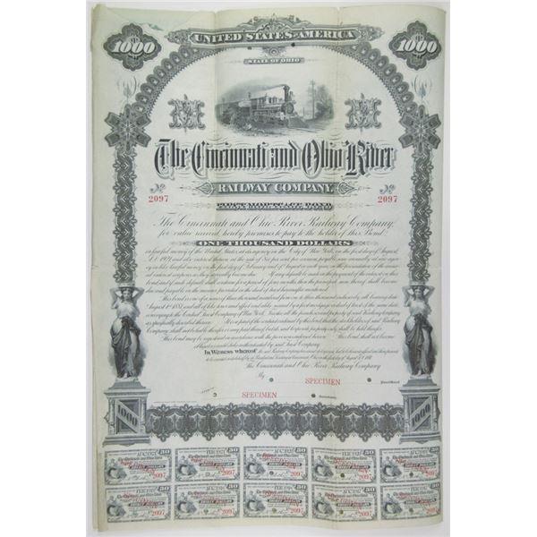 Cincinnati and Ohio River Railway Co. 1881 Specimen Bond