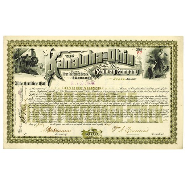 Kanawha and Ohio Railway Co. 1886 I/U Stock Certificate