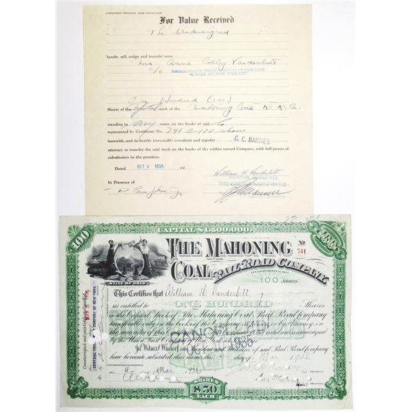 Mahoning Coal Rail Road Co. 1926 Stock Certificate Issued to William H. Vanderbilt, Signature Includ