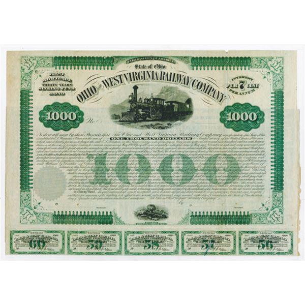 Ohio & West Virginia Railway Co. 1879. Specimen Bond.