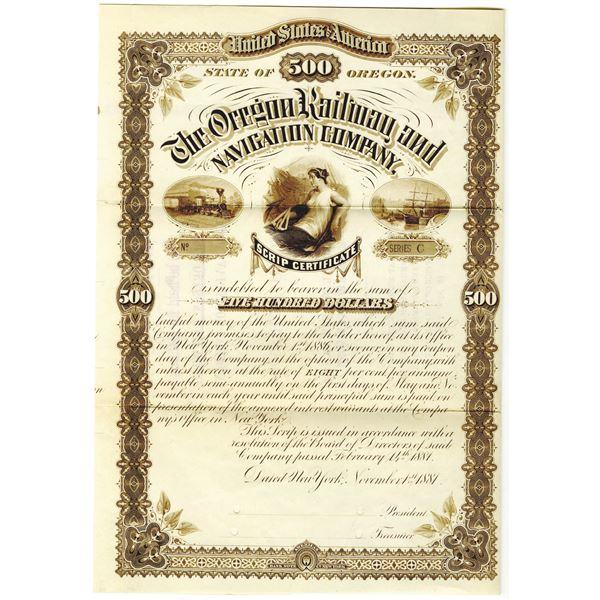 Oregon Railway and Navigation Co., 1881 Specimen Bond Rarity