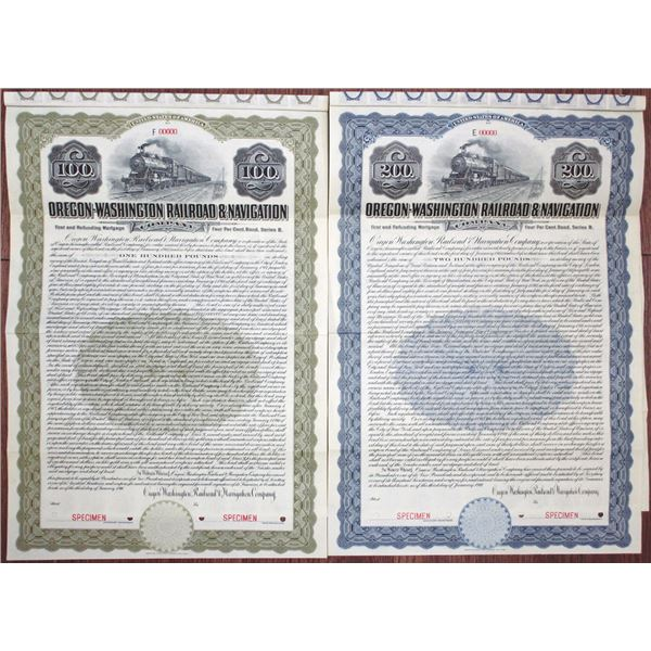 "Oregon-Washington Railroad & Navigation Co. 1911 ""Series B"" Specimen Bond Pair"